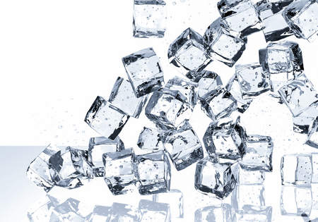falling cubes: 3d rendering ice cubes falling on white background Stock Photo