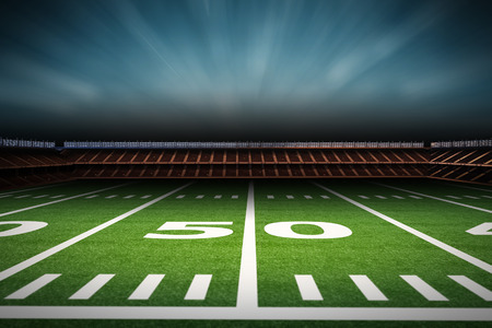 3d rendering empty american football stadium at night