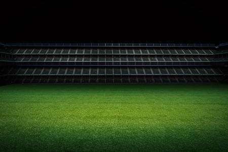 green field: 3d rendering empty green field with stadium Stock Photo