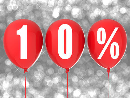 10: 10% sale sign on red balloons Stock Photo