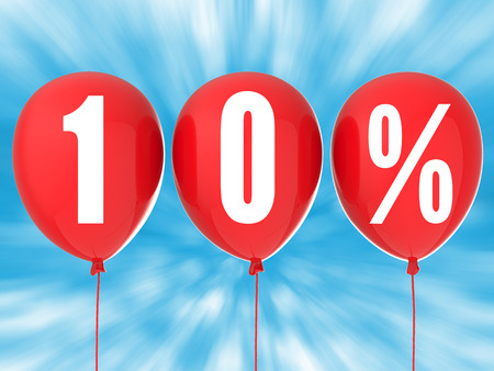 red balloons: 10% sale sign on red balloons Stock Photo