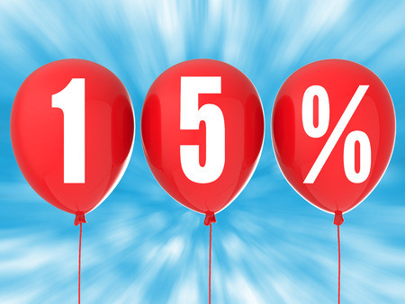 red balloons: 15% sale sign on red balloons
