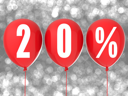 red balloons: 20% sale sign on red balloons Stock Photo