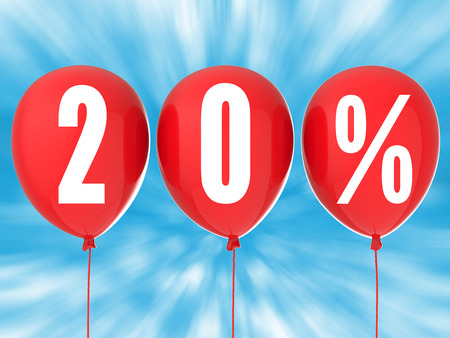 20: 20% sale sign on red balloons Stock Photo