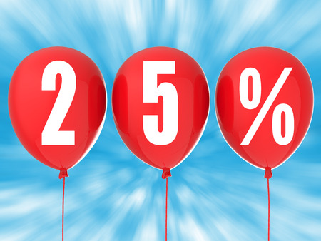 red balloons: 25% sale sign on red balloons