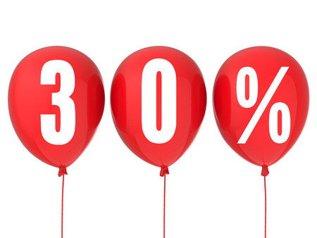 30: 30% sale sign on red balloons