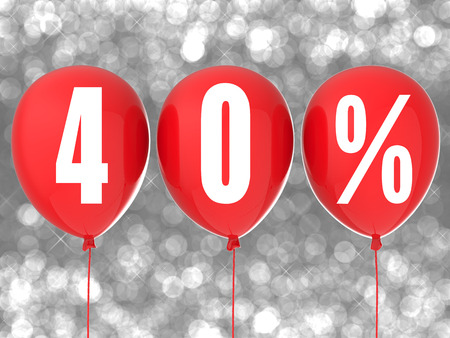red balloons: 40% sale sign on red balloons Stock Photo
