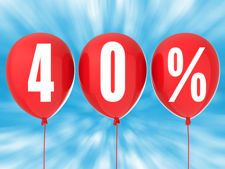 40: 40% sale sign on red balloons Stock Photo