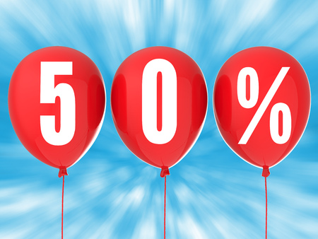 red balloons: 50% sale sign on red balloons