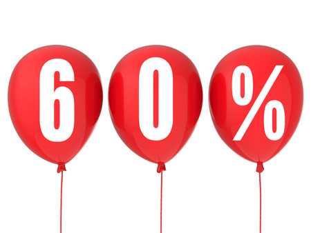 60: 60% sale sign on red balloons