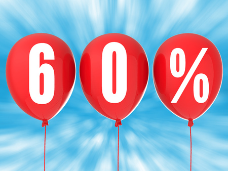 red balloons: 60% sale sign on red balloons