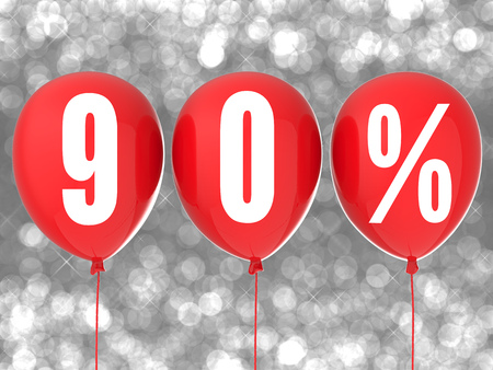 90: 90% sale sign on red balloons