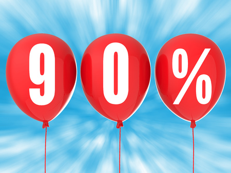red balloons: 90% sale sign on red balloons