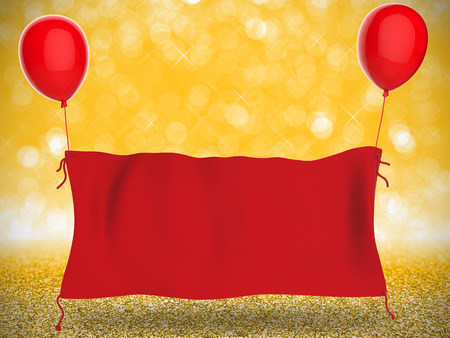 red cloth: 3d rendering red cloth banner hanging with red balloons