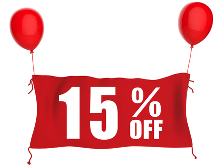 red balloons: 15%off banner on red cloth with red balloons Stock Photo