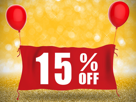 fifteen: 15%off banner on red cloth with red balloons Stock Photo