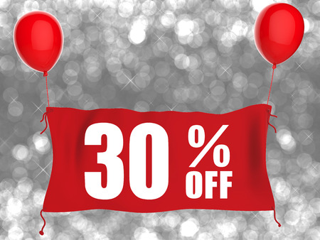 red balloons: 30% off banner on red cloth with red balloons Stock Photo