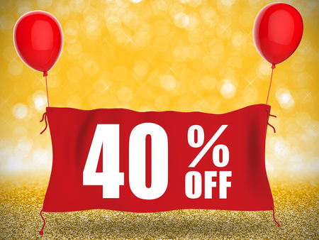 red balloons: 40% off banner on red cloth with red balloons