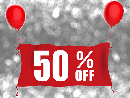 red balloons: 50% off banner on red cloth with red balloons