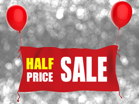 red balloons: half price sale banner on red cloth with red balloons Stock Photo
