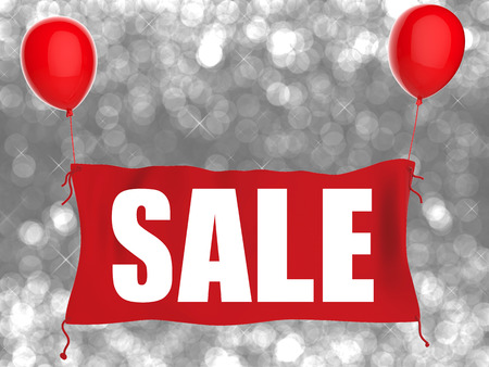 red balloons: sale banner on red cloth with red balloons