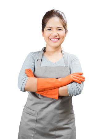 rubber gloves: asian housewife wearing rubber gloves crossed arms isolated on white Stock Photo