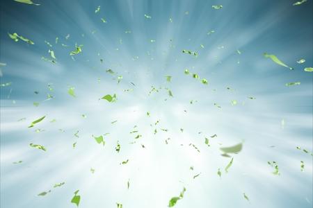 groene confetti explosie op een blauwe achtergrond