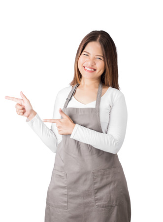 asian worker wearing apron isolated on white