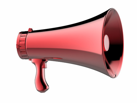 proclaim: 3d rendering red megaphone isolated on white
