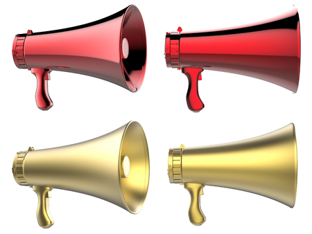 mega phone: 3d rendering gold and red megaphone isolated on white