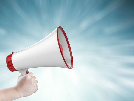 mega phone: 3d rendering megaphone calling with ray on blue background