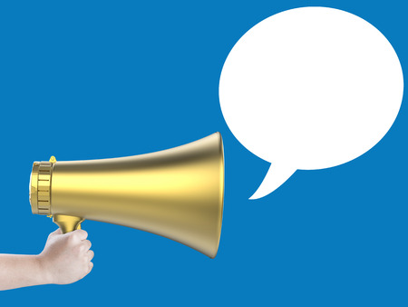 audible: hand holding megaphone with speech bubble on blue background