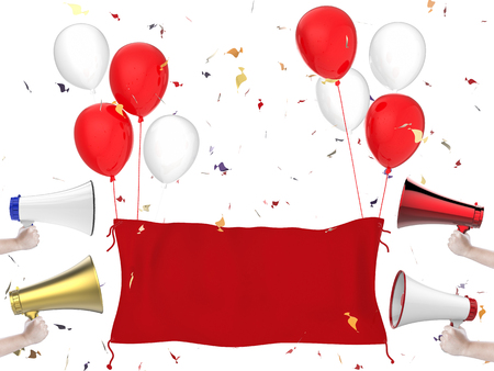 red balloons: 3d rendering red cloth banner, megaphones, red balloons and confetti