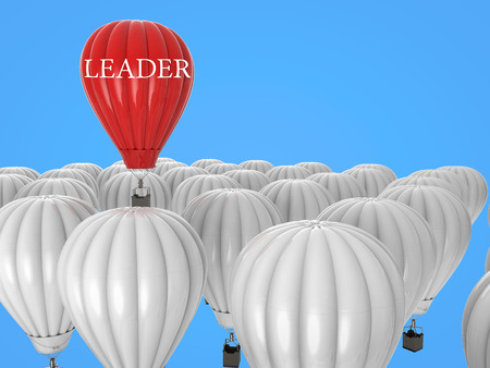 leadership concept: leadership concept with 3d rendering red hot air balloon flying above