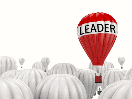 one team: leadership concept with 3d rendering red hot air balloon flying above
