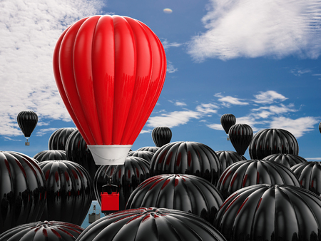 in differentiation: leadership concept with 3d rendering red hot air balloon flying above