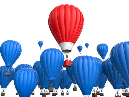 differentiate: leadership concept with 3d rendering red hot air balloon flying above