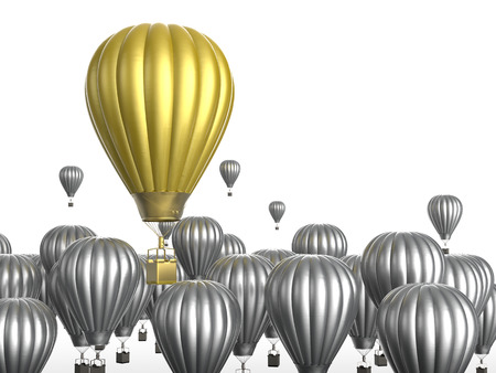 leadership concept: leadership concept with 3d rendering golden hot air balloon flying above