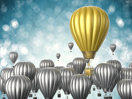 differentiate: leadership concept with 3d rendering golden hot air balloon flying above