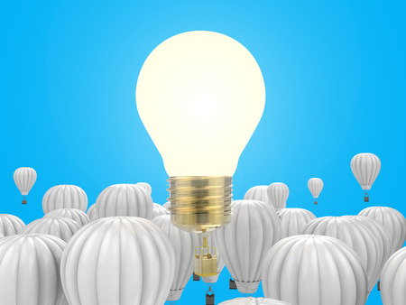 differentiation: creativity concept with 3d rendering shiny light bulb above hot air balloons Stock Photo