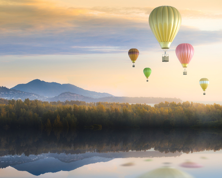 flying float: colorful hot air balloons above cloudy sky