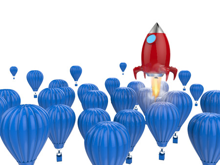 leadership concept with 3d rendering red rocket above blue hot air balloons