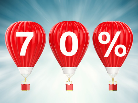 seventy: 70% sale sign on 3d rendering red hot air balloons
