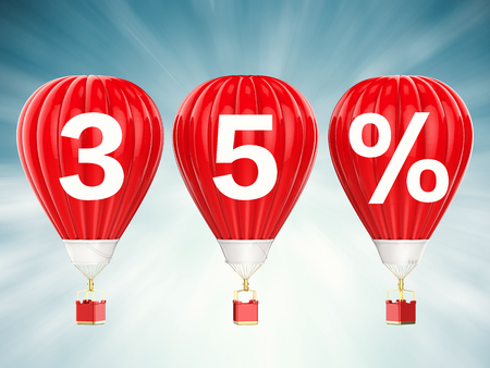 35% sale sign on 3d rendering red hot air balloons