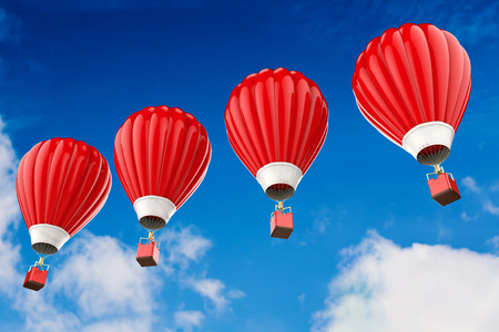 3d rendering red hot air balloons flying above cloudy sky Stock Photo