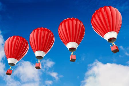 3D-Rendering rot Heißluftballons über bewölktem Himmel Standard-Bild
