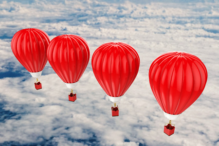 flying float: 3d rendering red hot air balloons flying above cloudy sky Stock Photo