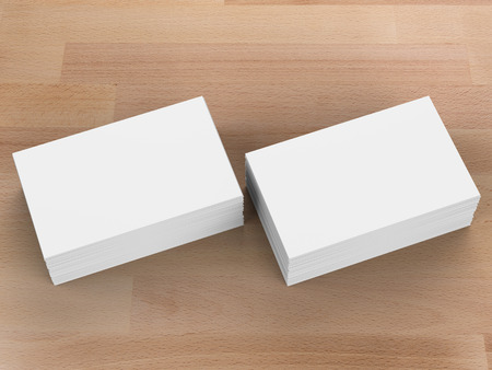 wooden insert: 3d rendering stack of blank name cards