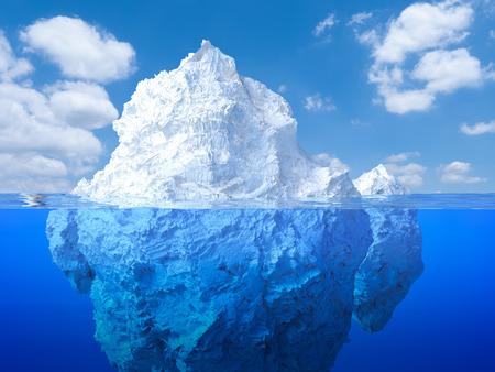 icecaps: 3d rendering iceberg floating on blue ocean Stock Photo