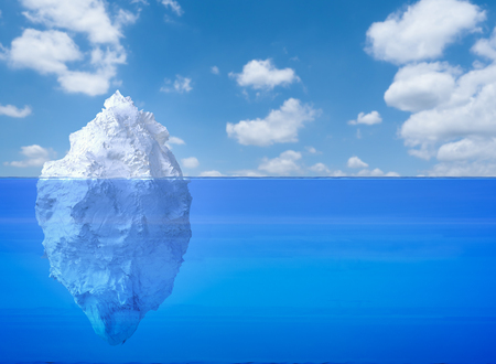 3d rendering iceberg floating on blue ocean